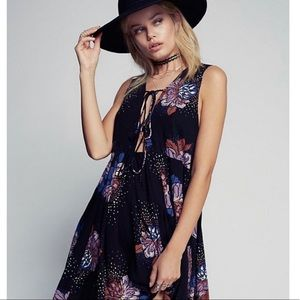 Free People lovely day black floral print dress